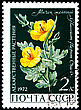 Philately USSR - CIRCA 1972: A Postage Stamp Shows Glaucium Flavum, Circa 1972 stock photography