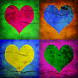 Valentine Card. Four Hearts With Different Colors stock photography