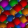 Valentine's Day Abstract Background With Glass Multicolor Hearts. Seamless Pattern.