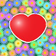 Valentine's Day Abstract Background With Red Hearts And Flowers. Seamless Pattern.