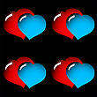 Valentine's Day Abstract Elegance Black Background With Red And Blue Glass Hearts. Seamless Pattern.