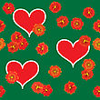 Valentine's Day Abstract Green Background With Red Hearts And Orange Flowers. Seamless Pattern.