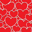 Valentine's Day Abstract Red Background With Hearts. Seamless Pattern.