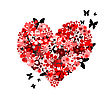 Icon Valentine's Day Card Floral Heart Shape stock photo