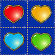 Valentine's Day Dark-blue Abstract Background With Glass Multicolor Hearts And Golden Stars. Seamless Pattern.