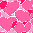 Valentine's Day Pink Abstract Background With Transparent Hearts. Seamless Pattern.