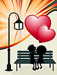 Valentine's Day Post Card, Romantic Layout With Couple In Love