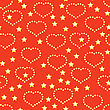 Valentine's Day Red Abstract Background With Golden Hearts And Stars. Seamless Pattern.