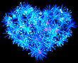 Valentines Day Blue Fireworks Heart Shape Over Black