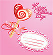 Valentines Day Card With Heart Candy - Lollipop - On Pink Background