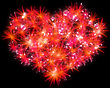 Valentines Day Red Fireworks Heart Shape Over Black stock illustration