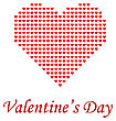 Valentines Day Romantic Banner With Red Heart On White Background stock illustration