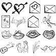 Valentines Day Sketch Sign Set. Vector Illustration.