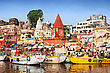 VARANASI, INDIA - APRIL 12: Boats At The River Ganges On The Auspicious Maha Shivaratri Festival On April 12, 2012 At Dasashwamedh Ghat In Varanasi, Uttar Pradesh, India stock photography