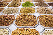 UAE Varieties Of Nuts: Peanuts, Hazelnuts, Chestnuts, Walnuts, Pistachio And Pecans. Food And Cuisine stock photo