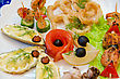 Variety Eatable Seafood Set Closeup stock image