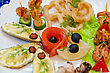 Variety Eatable Seafood Set On The Dish stock photography