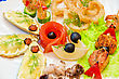 Variety Eatable Seafood Set On The Dish stock image