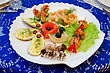 Grill Variety Eatable Seafood Set On The Dish stock photography