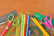 Various School Supplies On The Wooden Table stock image