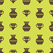 Vases Silhouettes Seamless Pattern On Yellow Background