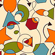 Abstract Seamless Composition With Geometric Figures, Seamless Pattern In Swatch Menu