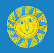 Abstract Smiling Sun On Blue