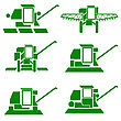 Agricultural Vehicles Harvesting Combine Silhouettes Set