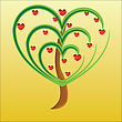Apple Tree With Red Fruits In The Form Of Heart Illustration Valentines