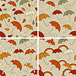 Autumn Seamless Patterns With Umbrellas And Autumn Leaves, Rain Drops, Rainbows Or Abstract Spirals, Fully Editable Eps 8 File With Clipping Masks And Patterns In Swatch Menu