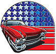 Vector Badge Executed In Retro Print Style With Colors Misregistration Effect On The Background Of American Symbolism. Easily Edit: File Is Divided Into Logical Layers And Groups. File Doesn't Contain