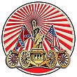 Vector Badge On Theme Of American History With Two Guns And Statue Of Liberty, Executed In Retro Print Style With Colors Misregistration Effect. Easily Edit: File Is Divided Into Logical Layers And Gr