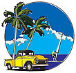 Vector Badge On Theme Hawaiian Summer, Executed In Retro Print Style With Colors Misregistration Effect. Easily Edit: File Is Divided Into Logical Layers And Groups. File Doesn't Contains Gradients, B