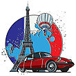 Vector Badge On Theme Of Paris, Executed In Retro Print Style With Colors Misregistration Effect On The Background In National Color Of French. Easily Edit: File Is Divided Into Logical Layers And Gro