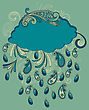 Blue Cloud With Paisley Rain, Fully Editable Eps 8 File