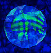 Vector Blue Polygonal Globe With World Map On Dark Background With Shadow And Light Effect