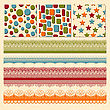 Bright Seamless Paterns And Seamless Lacy Ribbons, Fully Editable Eps 10 File, Seamless Patterns In Swatch Menu