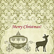 Christmas Greeting Card With Deer And Vintage Carriage, Seamless Patterns Included In Swatch Menu, Fully Editable Eps 8 File
