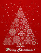 Christmas Greeting Card With Fir Tree Made Of Snowflakes On Red Bacxkground, Fully Editable Eps 10 File
