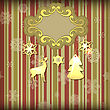 Christmas Greeting Card With Floral Frameand Shiny Golden Fir Tree Toys, Retro Style Fully Editable Eps 10 With Transparency Effects