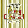 Christmas Greeting Card With Greetings And Vintage Floral Decorations With Snowflakes