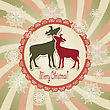 Christmas Scrapbook Greeting Card With Deers And Snowflakes, Retro Style, Fully Editable Eps 10 File With Transparency Effects, Standart AI Font
