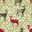 Christmas Seamless Vintage Wallpaper Pattern With Falling Snowflakes And Deers, Fully Editable Eps 8 File With Clipping Mask And Patterns In Swatch Menu