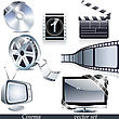 Vector Cinema Icons: Film Reel, Stack Of Reels, Film Strip And Clapboard