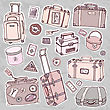 Vector Collection Of Vintage Suitcases. Travel Illustration Isolated