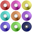 Vector Colorful Realistic Compact Disc Collection Isolated On White Background