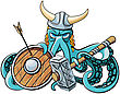Vector Colourful Illustration Of Octopus In The Horned Viking Helmet With Battle Hammer And Wooden Shield In His Tentacles, Isolated On White Background. File Doesn't Contains Gradients, Blends, Trans