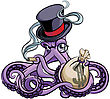 Vector Colourful Illustration Of Octopus Smoking Cigar In Vintage Victorian Top Hat With Monocle And Bag With Money In His Tentacles, Isolated On White Background. File Doesn't Contains Gradients, Ble