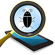 Vector Computer Bug. Computer Virus Under Magnifying Glass