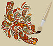 Concept Cartoon Brush Painting Floral Swirls And Paisley Elements, Eps 10 Fully Editable File